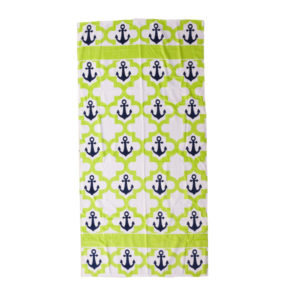 Drop Anchor Lime Hot Prints Brazilian Beach Towel