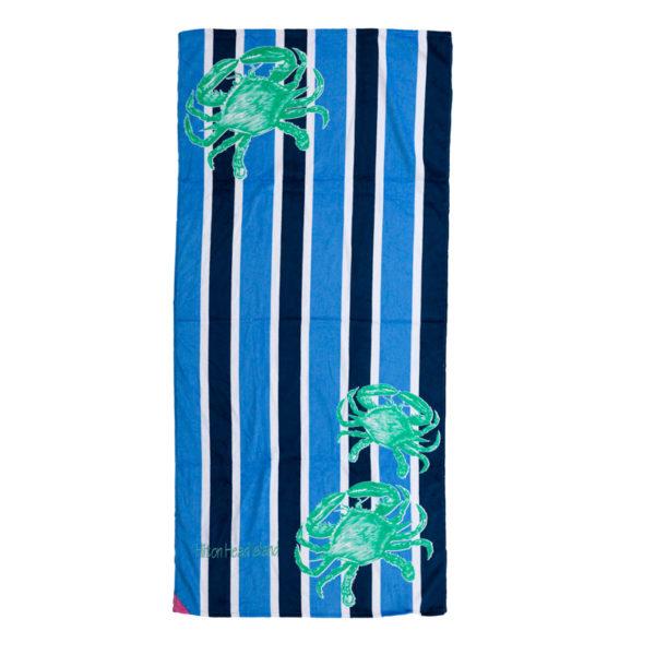 Crab Stripe Hot Prints Brazilian Beach Towel Cobalt