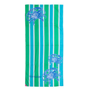 Crab Stripe Hot Prints Brazilian Beach Towel Aqua