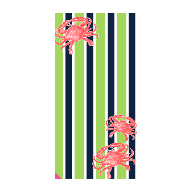 Crab Stripe Hot Prints Brazilian Beach Towel Lime